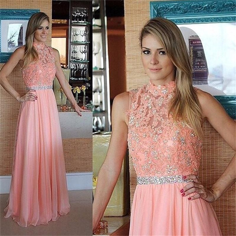 High Neck Lace Long Prom Dresses With Beaded Crystal Modest Evening Dress Formal Gowns(China (Mainland))