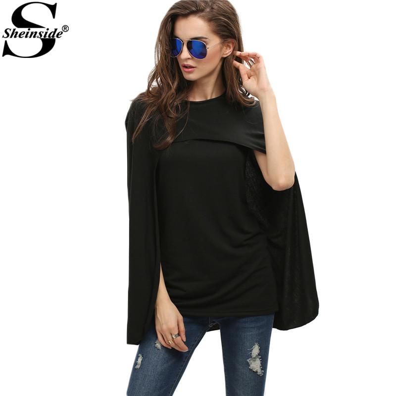 Sheinside 2016 Ladies Autumn Vogue Black Round Neck Cape Asymmetrical Top New Style Fashion Split Sleeve Blouse(China (Mainland))
