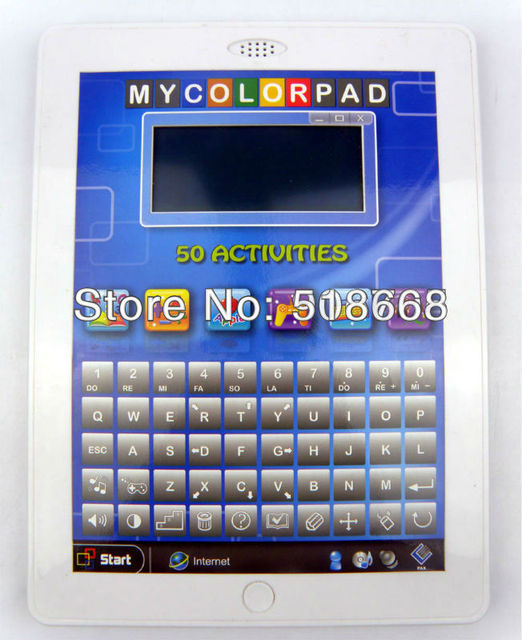 Color display  kids laptop teach & talk TABLET 50 Interactive Activities,ipad for kids educational toys learning tablet,6PCS/Lot