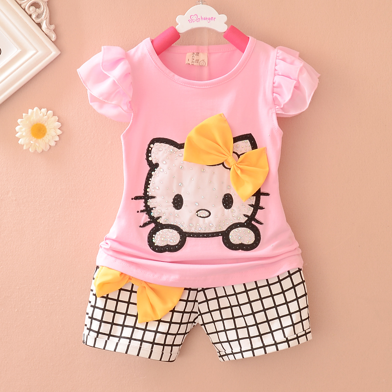 Promotion 2015 Summer New Hello Kitty Print baby girls clothing set Cotton Plaid Shorts baby suit