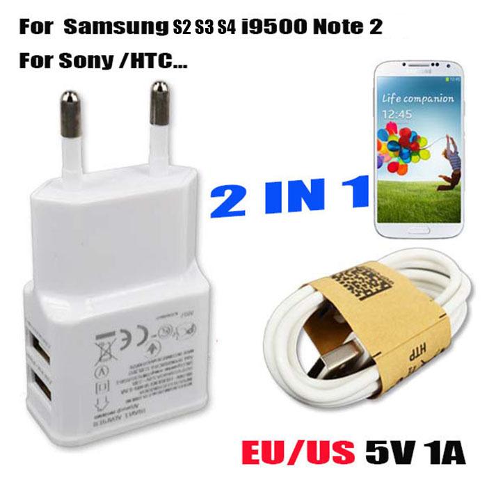 Гаджет  Dual USB 5V 2A Wall Charger Adapter EU Plug Travel Power 2 Port + Micro USB Data Sync Cable for Samsung S4 I9500 Note 3 for HTC None Телефоны и Телекоммуникации
