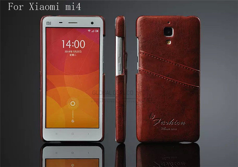 New Style Luxury Leather Back Hard Mobile Cases for Xiaomi Mi4 M4 Greased Wax PU Cell Phone Case Cover With Card Holder Brown(China (Mainland))