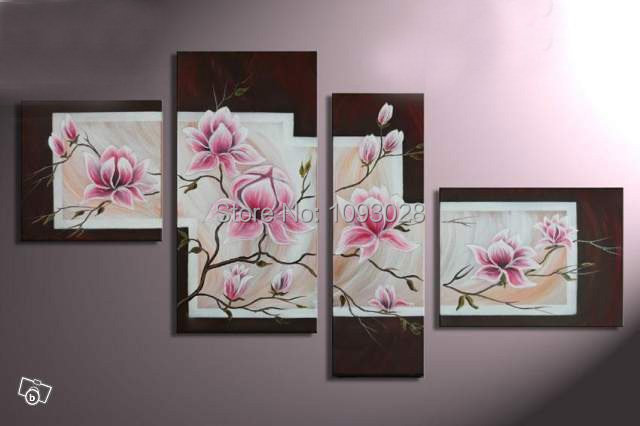 Handmade Wall Art Pink Flowers Oil Painting On Canvas Home