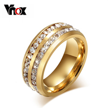 Buy Vnox Two Row Crystal Ring Women Gold-color Stainless Steel Wedding Elegant Anel for $2.79 in AliExpress store