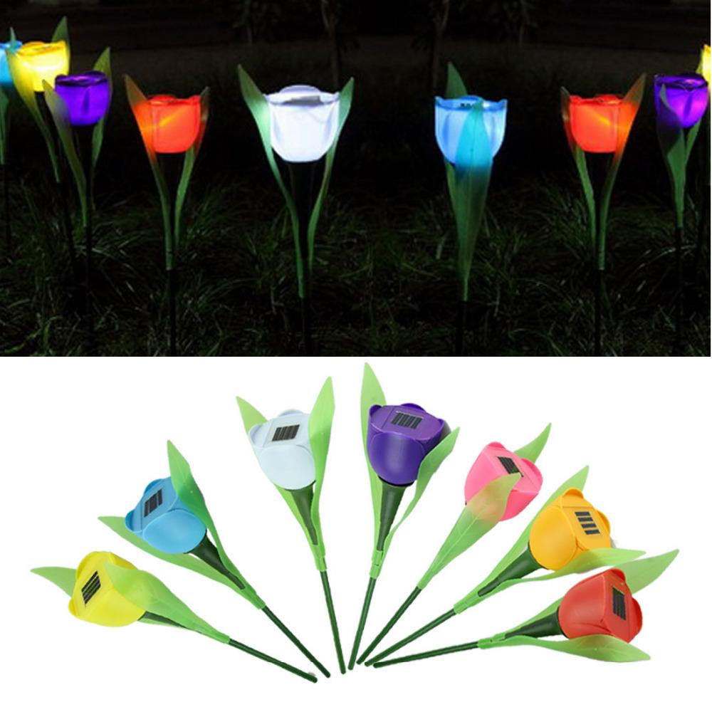 Modern 4 pcs Outdoor Garden Yard Solar Powered Path LED Tulip Landscape Flower Light Lamp Jul07(China (Mainland))