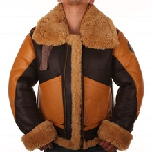 B3 Jacket air shearling Bomber Fur Vintage military pilot men World ar II Leather Flying b-3 Environmental protection of leather(China (Mainland))