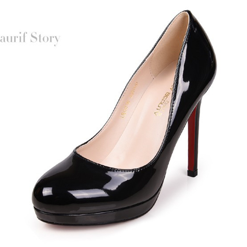 BIG SIZE 42 new classic women round toe red sole platform pump lady 11cm high-heeled OL single shoes girl party wedding shoes(China (Mainland))