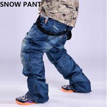 Preferential Snow Pants Men Denim Casual Ski Pants Waterproof Breathable 5000 Padding Warm Skiing Suspenders Pants Waterproof