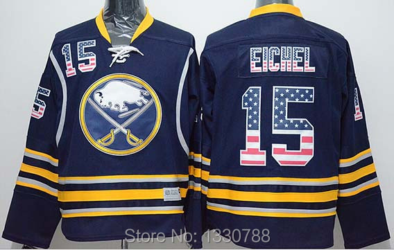 Cheap 2015 New Buffalo Sabres Jersey #15 Jack Eichel Navy Blue Home Fashion USA Flag Stitched Mens Sport Ice Hockey Jerseys