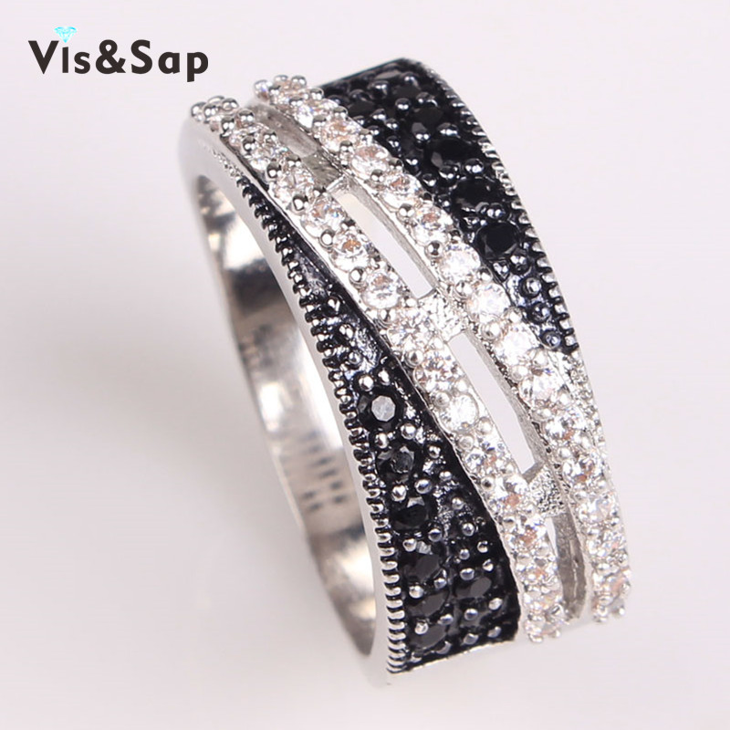 Black white stone punk Rings For women White gold plated rings AAA CZ diamond Wedding bands Bijoux fashion jewelry VSR089(China (Mainland))