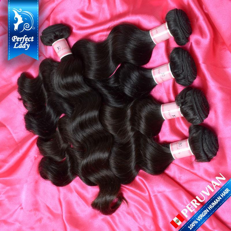 """Free shipng virgin peruvian hair 12"""" to 26"""" natural color loose wave preuvian virgin hair human hair extension 4Pcs Lot selling(China (Mainland))"""