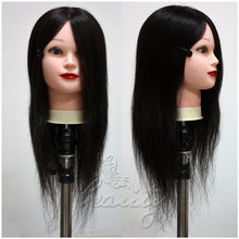 "Black 22"" 100% REAL HUMAN HAIR Training Head Hairdressing Mannequin + Holder(China (Mainland))"