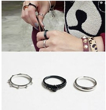 JZ277 2015 new Fashion Influx of people exaggerated personality retro three-piece joint ring Jewelry Wholesale 3pcs/lot(China (Mainland))