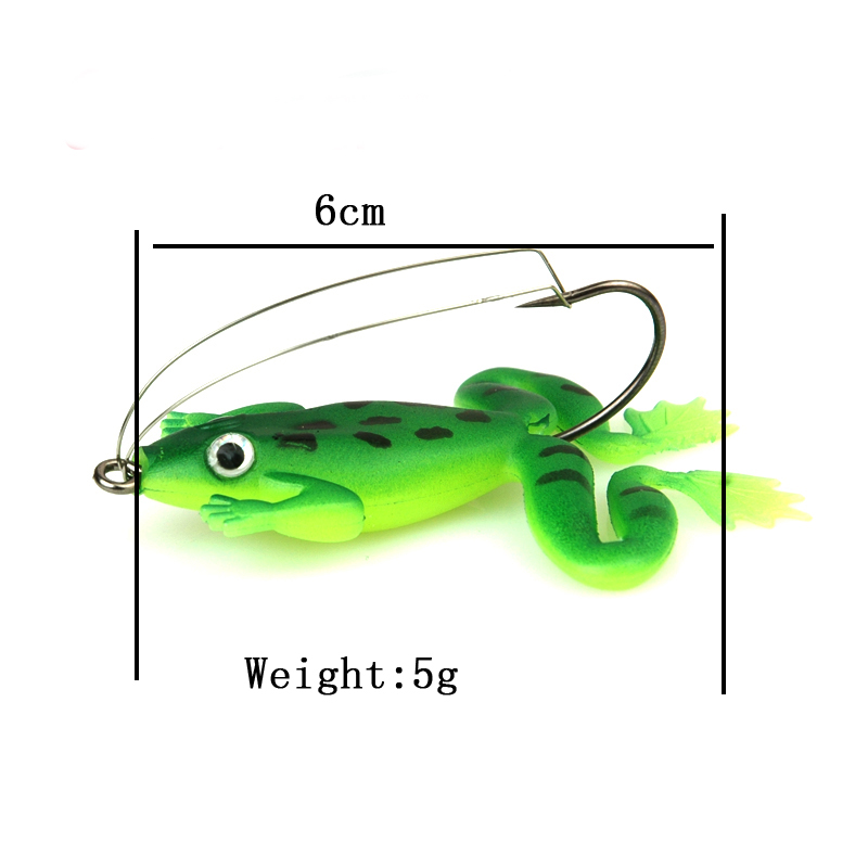 8pcs/lot 6cm/5g Frog Soft Bait Fishing Lures Soft Frog Fishing lures Plastic Fish with Hook 2 Colors(China (Mainland))
