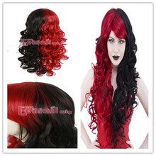 New Arrival Long Deep Wave Black & Wine Red Gothic Synthetic Lolita Cosplay Wigs 28inches/70CM(China (Mainland))