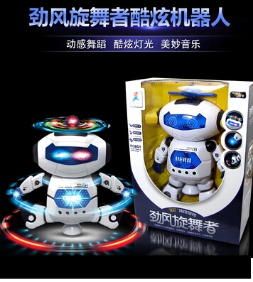 Free shippingThe new electric can sing and dance intelligent robot rotating dance 1-2-3-4-5 year old boy children's toys A157(China (Mainland))