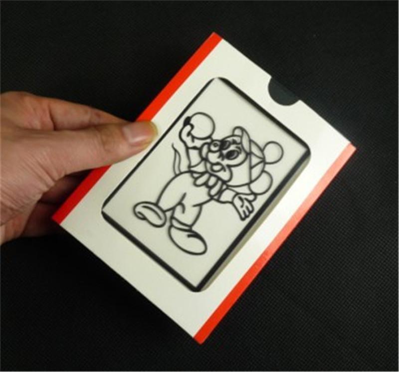 Free Shipping! Prediction Clown Drawing (Medium, 12.6cm*9.6cm), color cards beginner magic trick prop magic toys children kids(China (Mainland))
