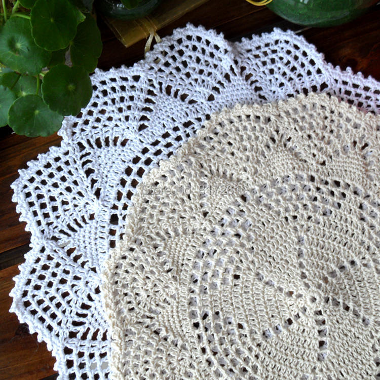 ZAKKA fashion 12 pics/lot 30cm Round cotton crochet lace doilies for home decor table mat with lace flowers coaster cup pads mat(China (Mainland))