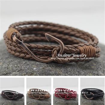 Low0222lb 2105 ювелирные изделия винтажный ретро рыба крючки полиуретан кожа браслет ...