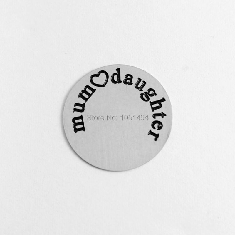 """2014 NEW 22mm 316L stainless steel floating plates """"Mum love daughter"""",0.5mm thickness fit 30mm Floating Charm Locket(China (Mainland))"""