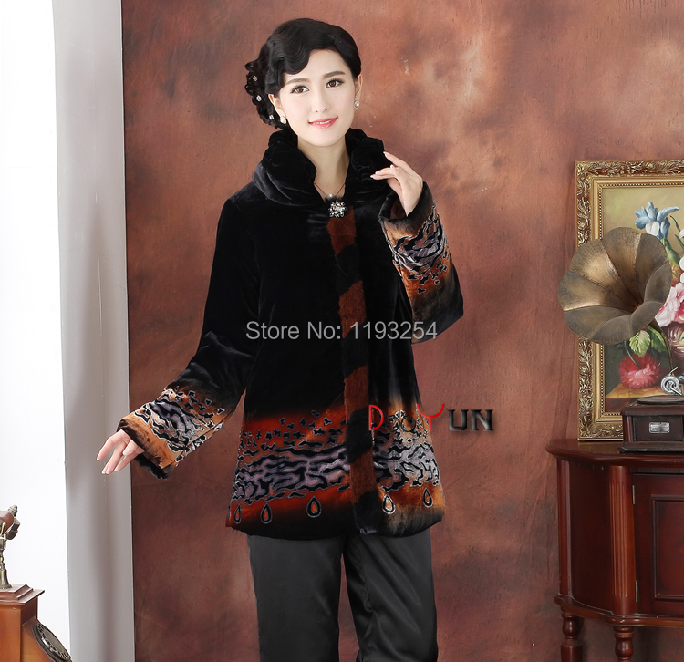 Winter Clothing Mom Chinese Traditional  Clothing Boutique Silk Velvet Silkworm Cotton-padded jacket  mom long-sleeved TopsОдежда и ак�е��уары<br><br><br>Aliexpress