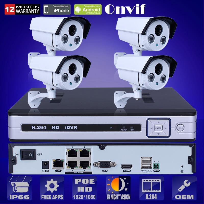 Plug And Play 1080P POE IP Camera HD H.264 IR Home Security CCTV Camera Email Alarm 4CH NVR Surveillance System 2TB HDD(China (Mainland))