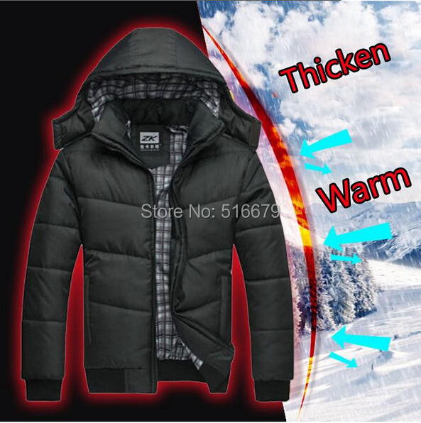 Winter Coat Men quilted black puffer jacket warm fashion male overcoat parka outwear cotton padded hooded