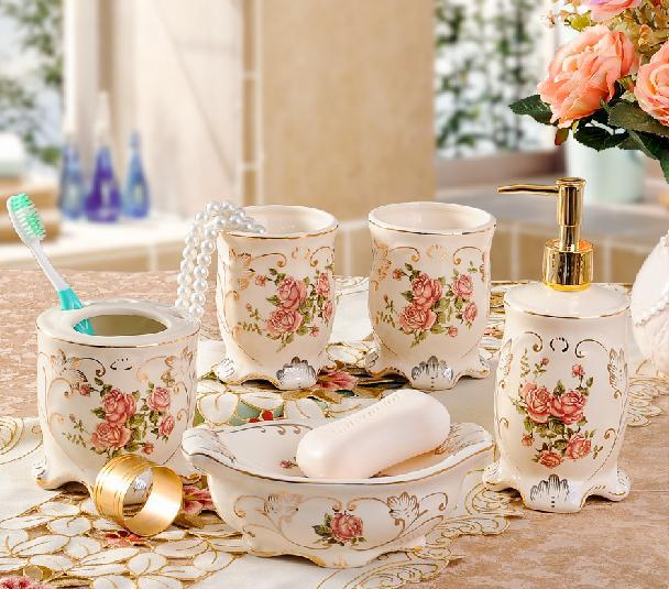 European style ceramic five piece bathroom set luxury - Accessori da bagno di lusso ...