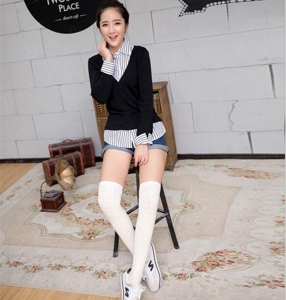 2014 New Fashion Striped Women Thigh Highs Stockings Knee Soft For Spring Seven Colors For Choose(China (Mainland))
