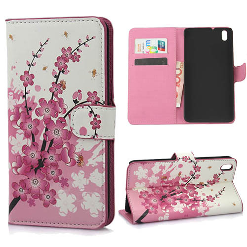 Sale Pink Plum Phone Cases for Htc Desire 816 Flip with Stand Screen Protector Slim Cell Phones Wallet Style Leather Case(China (Mainland))