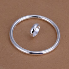 Factory price top quality silver plated  jewelry sets necklace bracelet bangle earring ring free shipping SMTS332(China (Mainland))