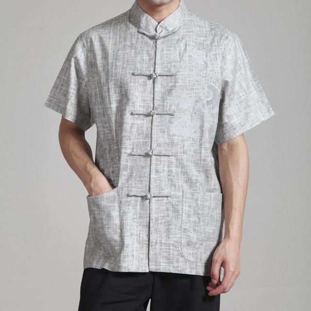 Серый летний старинный китайский мужской белье кунг-фу рубашка с дракон размер sml ...