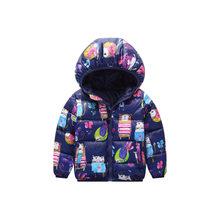 Новинка; хлопковые пальто с капюшоном для маленьких девочек; коллекция 2018 года; зимняя куртка; Детское пальто; детская теплая одежда; пухови...(China)