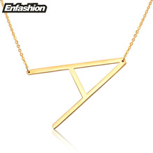 Fashion Letter Necklaces Pendants Alfabet Initial Necklace 24K Gold Stainless Steel Choker Necklace Women Jewelry Kolye Collier(China (Mainland))