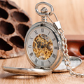 Luxury Silver Hollow Double Hunter Pocket Watch Mechanical Hand Wind Pendant With 30cm Chian Hot Selling