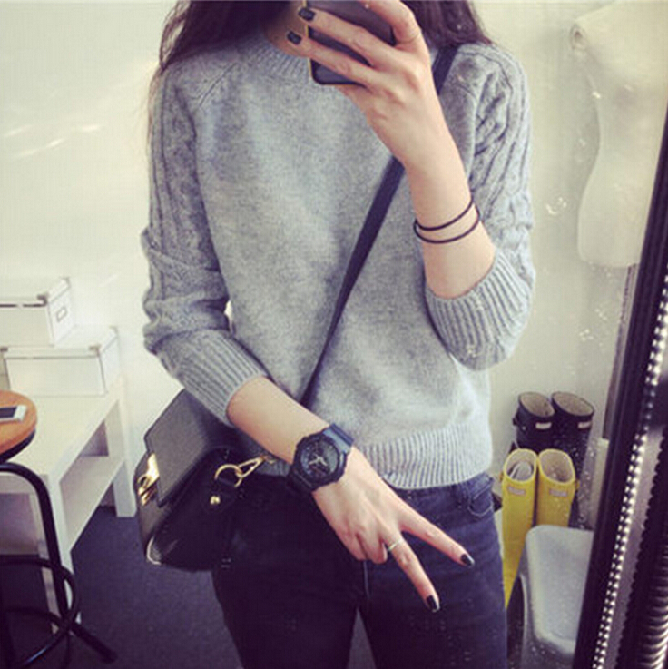 2015 Spring Winter Fashion Women O-neck Solid Plaid Twisted Pullover Sweater Long Sleeve Short Knited TopОдежда и ак�е��уары<br><br><br>Aliexpress
