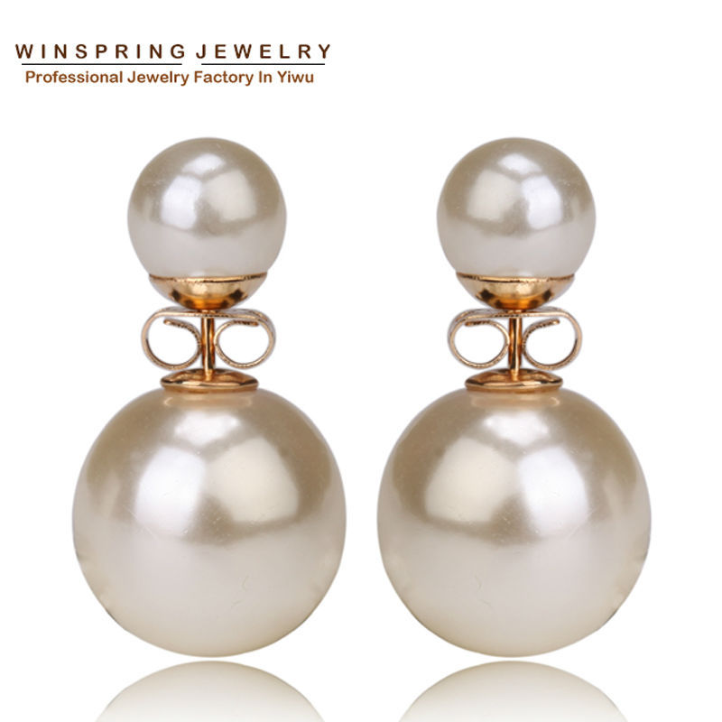2015 Hot 9Colors 14mm Small Pearl Earrings Double Pearl Stud Gold Earrings MOQ 1Pair/Opp Bag Free Shipping(China (Mainland))