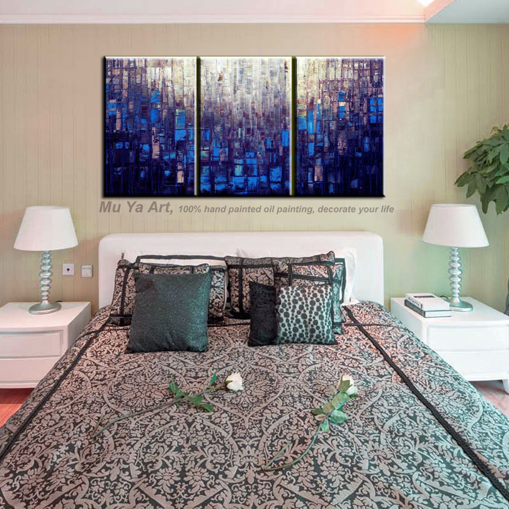 Buy Modern painting canvas abstract 3 piece canvas wall art Knife blue oil painting on canvas for living room pictures decoration cheap