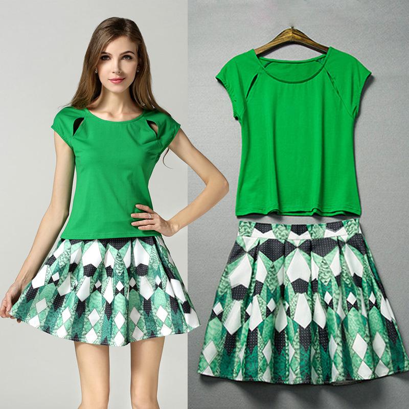 Elegant Women Pencil 2 Piece Crop Top Skirt Set 2016 New Fashion Sexy Bandage