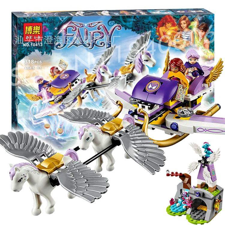 318pcs New Bela 10413 Elves Aira's Pegasus Sleigh Building Fairy dragon pegasi windmill magical Toys Compatible With Lego(China (Mainland))