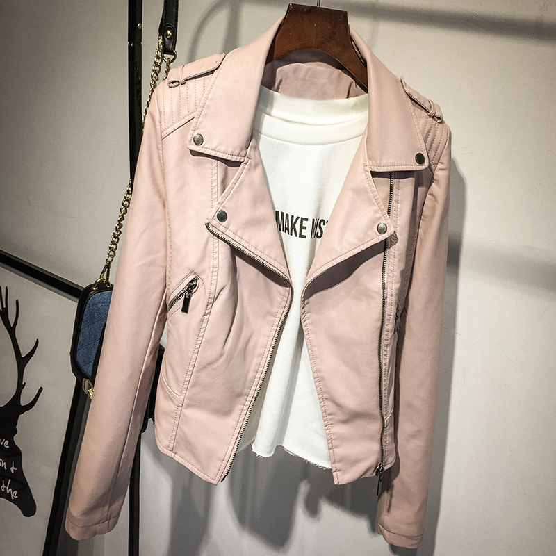 2017 Spring New Women's Zipper Pink PU Leather Jacket Turn-down Collar Lady Leather Coat Black Short Outerwear(China (Mainland))