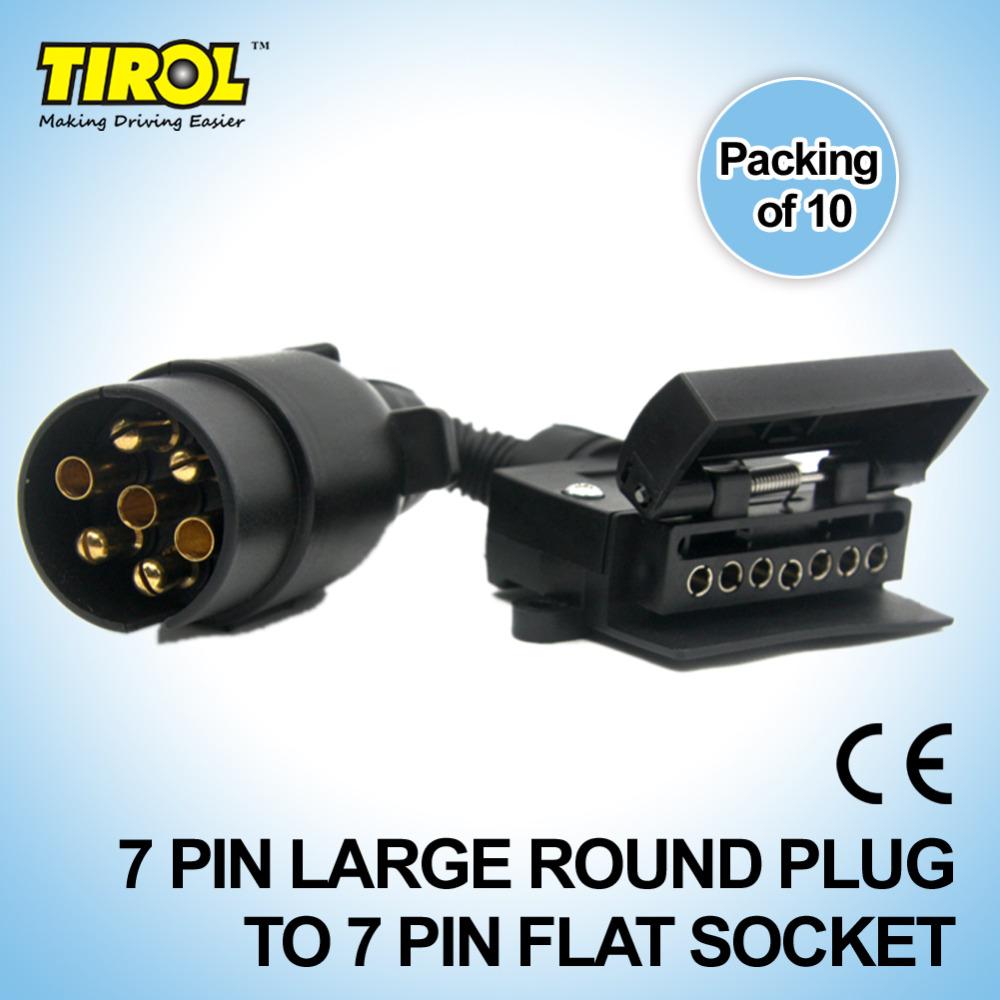 TIROL T21579c 7 Pin Plug Connector Trailer Boat Truck Car Adaptor 7 Pin Flat Socket to 7 Pin Large Round Plug Free Shipping