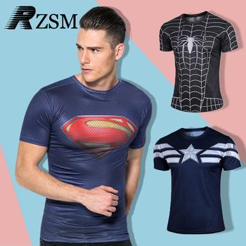 Высокое качество сжатия футболки супермен / бэтмен / человек паук / капитан америка тренажерный зал футболка утюг мужчины фитнес рубашки мужчины футболки