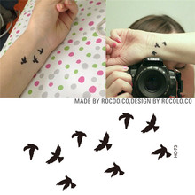 HC1073 Women Sexy Finger Wrist Flash Fake Tattoo Stickers Liberty Small Birds Fly Design Waterproof Temporary Tattoos Sticker