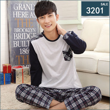 Men Pajama Sets 100% Cotton 2016 Spring and Autumn Male Sleepwear Long-Sleeve O-Neck Pullover Plaid Lounge Sleep Set(China (Mainland))