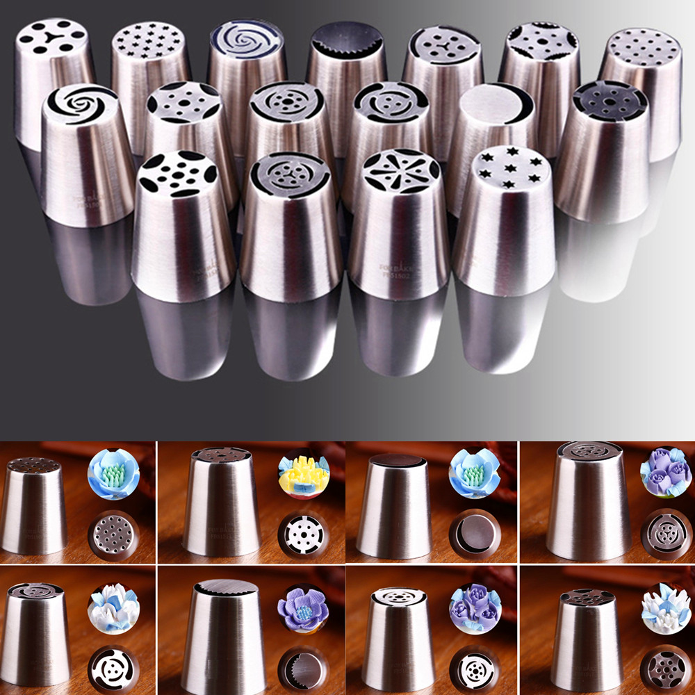 17 Style Russian Tulip Icing Piping Nozzles Cake Decoration Tips Baking Tools(China (Mainland))
