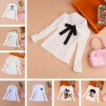 Girls Clothes 2016 Autumn Children Clothing Princess Long Sleeve Child Shirt School Girl Blouse White Blouses Kids Age 2-16Y(China (Mainland))