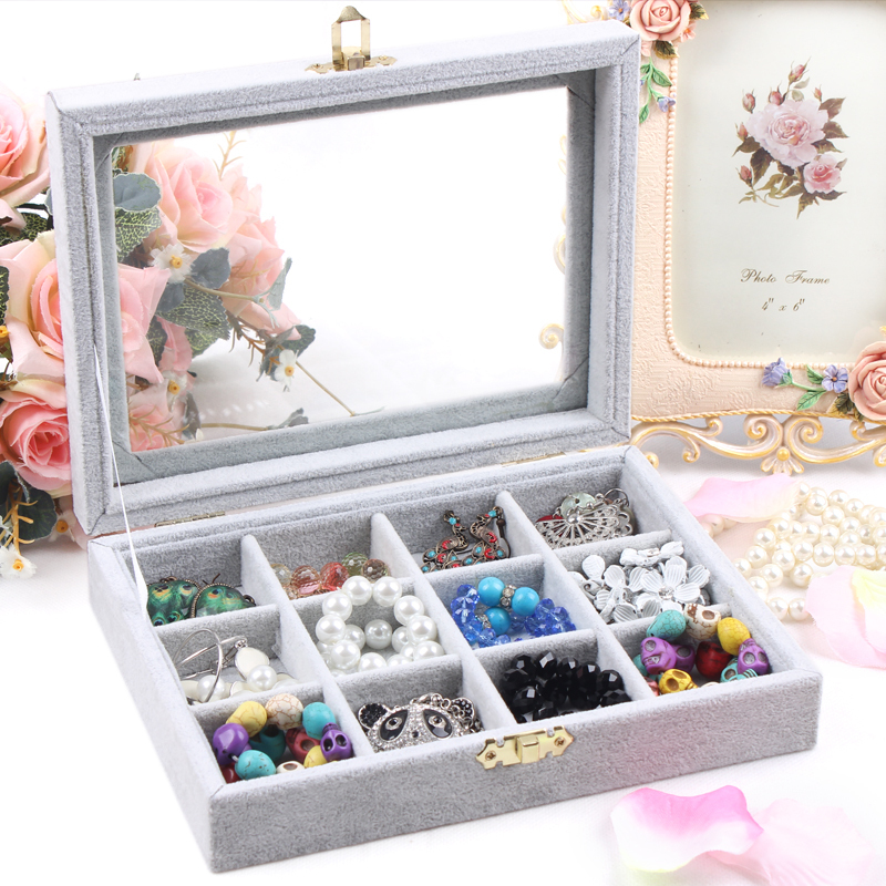 A213-2 High Grade Velet Soft Jewelry Box Charms Pendants Storage Display Small 20*15*4.5cm 12units 430g(China (Mainland))