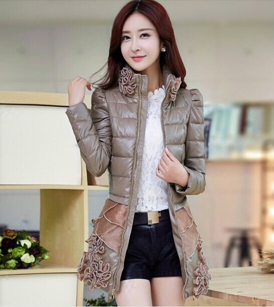 Ms. cotton long section thick padded 2014 winter new female Korean autumn Slim PU leather jacket coat - Hongli Tan's store