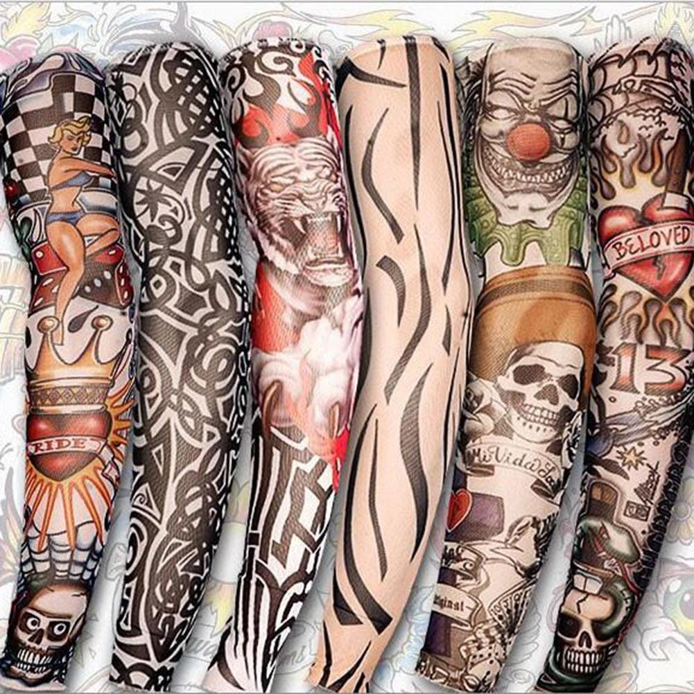 8pcs/Set Fashion Mixed Designs Nylon Elastic Fake Temporary Tattoo Sleeves Slip on Tattoos Arm Stockings Sleevelet Cool Body Art(China (Mainland))